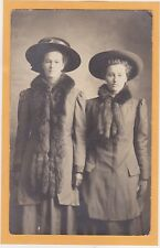 Studio Real Photo Postcard RPPC - Two Women Wearing Hat and Fur Collar
