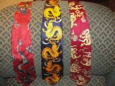 3 DRAgON NECKTIE s asian style red blue animal figure silk china
