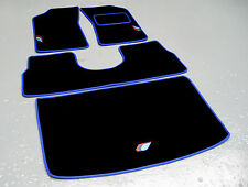 Black/Blue Car Mats - Peugeot 205 + Talbot Sport Logos (x3) + Saddle + Boot Mat
