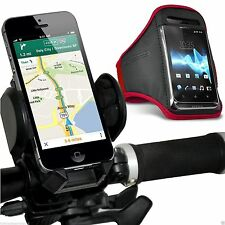 Quality Bike Bicycle Handlebar Phone Holder+Sports Armband Case Cover✔Red