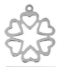 1 Sterling Silver Charm / Pendant With 6 Hearts 14 Mm