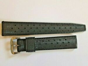 AUTHENTIC NOS 1960'S TROPIC 19MM SWISS BLACK BAND STRAP STRAIGHT END       #7226