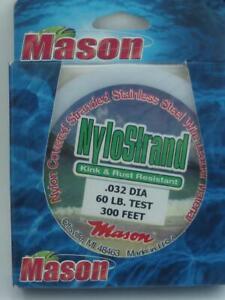 Mason BNS-60 Nylostrand Black Nylon Coated 7 Strand Wire 60 lb Test 300 Ft