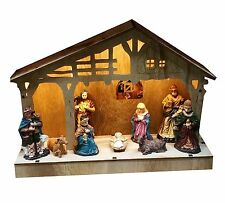 Light Up Rustic Wood Nativity Scene Set With Figures
