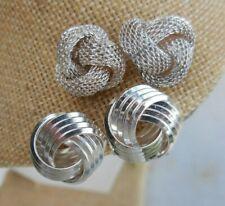 2 Pair Silver tone KNOT Earrings