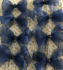 15 Small 3.5cm Navy Organza Bows With Navy Gem Centre/ Christmas/ Candles/Craft