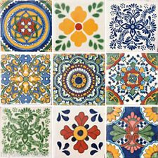 SET #038) 9 MEXICAN TILES CERAMIC TALAVERA MEXICO HAND MADE DECORATIVE ART