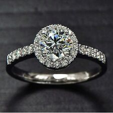 Halo Diamond Engagement Wedding Bridal Ring Womens 14K White Gold Over Round Cut