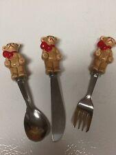 Teddy Little Bear Childs Children Stainless Utensil Knife Spoon Fork Set Unique