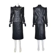 Adult Women Cruella Sexy Dress Faux Leather Jacket Halloween Cosplay Costume