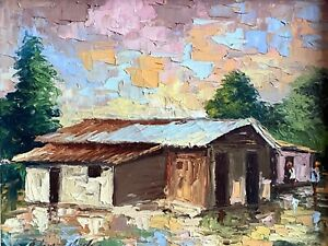 1970s Haitian Impressionist Oil on Canvas Painting by: EMMANUEL PIERRE CHARLES