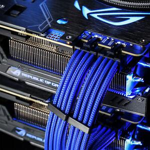 Sleeved Kabel Set Blau ATX 30cm Gaming Modding PCIe Kabelmanagement PC