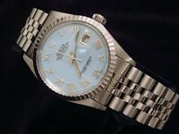 Rolex Stainless Steel Datejust Watch w/Blue MOP Roman Dial & Jubilee Band 16030
