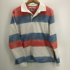 Chubbies Long Sleeve Polo Shirt Men's L Multicolor Striped Rugby Button Pullover