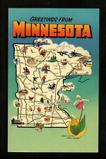 Map Greetings postcard Minnesota Mn State flower native american chrome