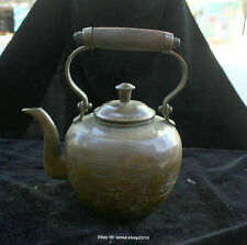 20cm Collect China Brass Bronze Coppeer Handmade Ladies wine pot kettle AABC