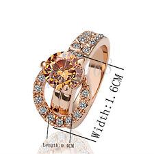 18K Rose Gold Filled Hypo-Allergenic Crystal Wedding Engagement Ring Z056