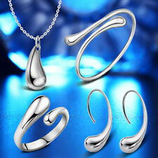 925 silver Plated drop jewelry sets necklace bracelet bangle earring ring New