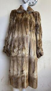 Womens Vintage Real Fur Jacket Coat Brown Size UK 16-18 Large Ladies