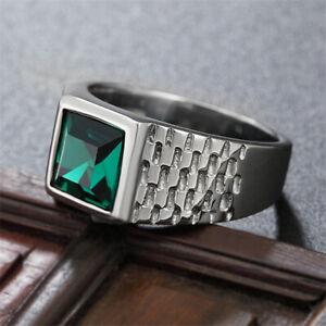 Men's Engagement & Wedding Modernist Ring 14K White Gold 2.51 Ct Green Emerald