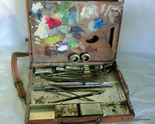 Vintage Antique french Distressed Artist Painters Wooden Case c1900