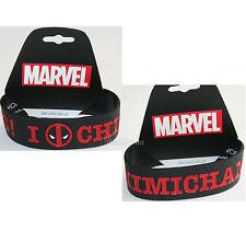 "NEW Marvel Comics I Deadpool Logo Chimichangas 1"" Rubber Bracelet Wristband"