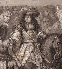 Grande Gravure Entrée du Roi LOUIS XIV et Marie-Thérèse d'Autriche à Douai