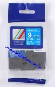 Brother TZe-525 compatible laminated 9mm x 8m White-On-Blue Tape