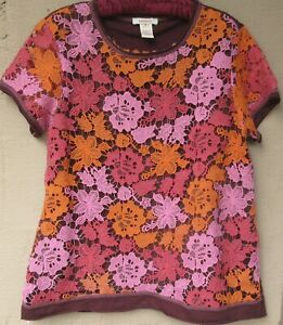 Sundance Cotton Knit Tee Top with Floral Lace Overlay    Medium
