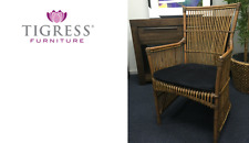 """Connor"" Hamptons Rattan Cane Armchair Dining Chair"
