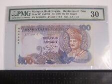Rare!!! PMG 30 - 5th Series RM100 Aziz Taha ZZ Replacement - KNB29d