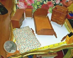 VINTAGE CHERRY STROMBECKER WOODEN DOLLHOUSE HTF BEDROOM SET 4 PC LOT DRESSER  ++