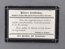 Genealogy: Memorial Death Funeral Card #A42 LENFESTEY Pierre 67 1904: Guernsey