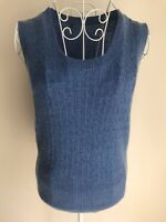 Woolovers Womens Jumper Size 10 Blue Cable Knit Cashmere Merino Wool Sleeveless