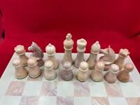 Large Hand Carved Natural Soapstone Chess Set ***NO BOARD