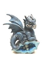 StealStreet SS-G-71581 Blue Medieval Baby Dragon Crystal Egg Nest Ornament