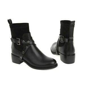 Ladies Womens Chelsea Ankle Boots Elasticated Low Heel Slip On Shoes Casual 43 D