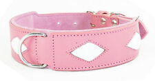 Pink Staffy Dog Collar With 4 White Diamond Shapes To Fit 20 - 24 Inch Neck
