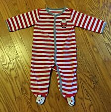 """CARTERS INFANT BABY BOY """"SANTA"""" CANDY CANE STRIPE  ONEPIECE  SIZE 9 MONTHS"""