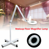5x Magnifier Lamp Stand Glass Jewelry Facial Adjustable Rolling Floor Magnifying
