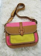 d4bec7a610 Fossil Shay Canvas Crossbody Pink Yellow Handbag Flap Top Closure Pocket Bag