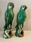 """ANTIQUE QING CHINESE PAIR GREEN GLAZED SANCHI PARROT INCENSE BURNERS 9"""" + 8 1/2"""""""