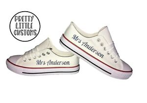 Personalised print ladies glitter print canvas wedding trainers Mrs (Your Name 3