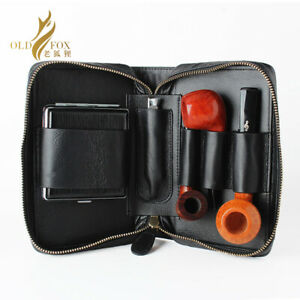 Leather Portable Tobacco Pipe Pouch Bag for 2 Smoking Pipes Cleaners Accessories