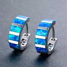 Fashion 925 Silver Rectangle Blue Fire Opal Hoop Earrings Womens Jewelry Gifts