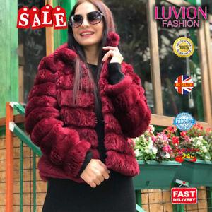 Women Fluffy Fur Jacket Warm Overcoat Outerwear Ladies Coat- BURGUNDY