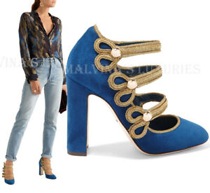 DOLCE & GABBANA SHOES MILITARY COURT MARY JANE PUMPS BLUE SUEDE $1,145 37.5 7.5