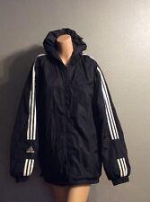 ADIDAS Winter Coat REVERSIBLE Hoodie Jacket BLACK  Bomber Extra Large Hip Hop 90