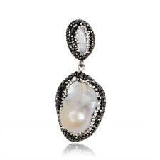 Wholesale 5Pcs Natural Pearl Pave Crystal Zircon Pendant Handmade FREE BJ032