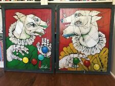 Michael Banks outsider artist pair of greyhound whippet oil paintings Alabama